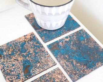 Patinated Copper Coaster Set