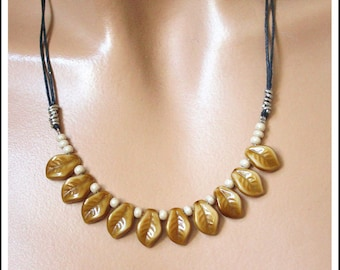 Black waxed cotton cord and caramel glass necklace