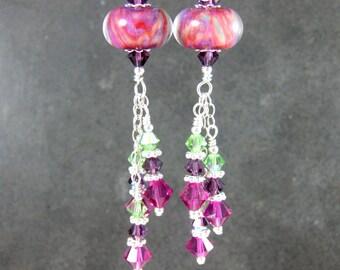 Pink Purple & Green Glass Dangle Earrings, Colorful Crystal Earrings, Boho Earrings, Boro Lampwork Earrings, Silver Earrings, Boho Jewelry