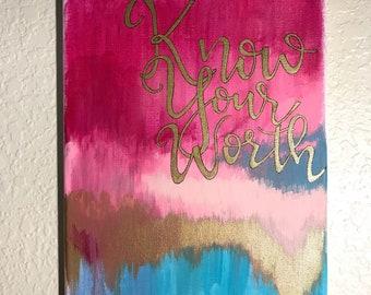 Handmade motivational quote canvas