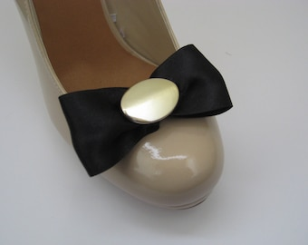 Black Satin Bow with Oval Gold  Shoe Clips FREE SHIPPING