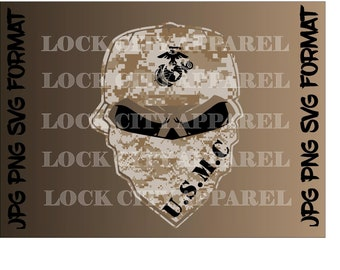 Bandana Skull Full Graphic Printable Design USMC SVG