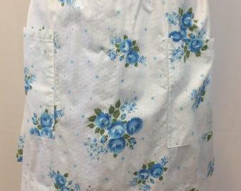 Vintage Half Apron Hostess Apron White with Blue Roses //1950's Homey Tea Shop Look Apron