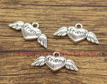 20pcs Winged Heart Charms 2 Sided Angel Wings Friend Charms Antique Silver Tone 27x13mm cf1786