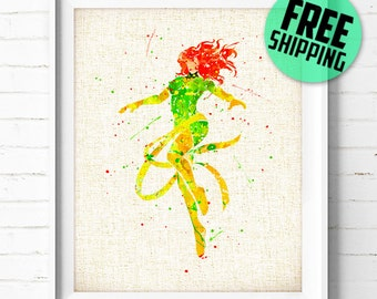 FREE SHIPPING- X-Men Art Print, Phoenix, Marvel, Superhero, poster, watercolor, illustration, nursery, kids, gift, wall art, home decor 316