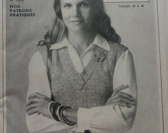 woman REF Jersey OVER BLOUSE and jacket vintage sewing pattern. 1363