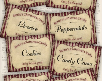 Shabby Christmas Candy Labels Christmas labels printable craft hobby crafting scrapbooking instant download digital collage sheet - VD0545