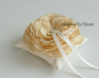 Small ivory Wedding pillow with flower---ring bearer pillow, wedding ring pillow , wedding pillow, ready to ship