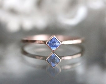 Spring Sales - Blue Sapphire 14K Gold Ring, Gemstone Ring, Stacking Ring, Eco Friendly, Recycled Gold, Engagement Ring, Wedding Ring - Custo