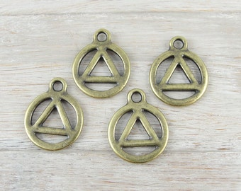 Recovery Charms Antique Brass Oxide Recovery Symbol TierraCast Charms (P1115)
