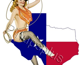 Sexy Single Texas Flag Pinup Girl Waterslide Decal for guitars & much MORE. Works on most smooth surfaces for a painted on look S52