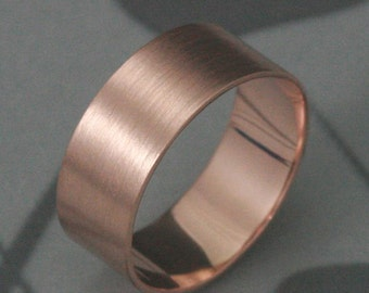 WIDE Solid 14K Gold Band--8mm wide Flat Band--Perfect Wedding Band--Pipe or Cigar Band--Your Choice of Gold Color