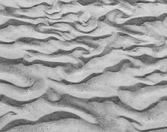 Sand Patterns - Black and White Nature Photograph - Monochromatic Beach Landscape - 4x6, 5x7, 8x10, 11x14, 16x20