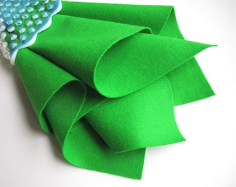 Sprout, Bright Green Felt, Wool Felt Square, 100% Wool, Choose Size, Die Cutting, Felt Flowers, Wool Applique, Waldorf Handwork, Toxin Free