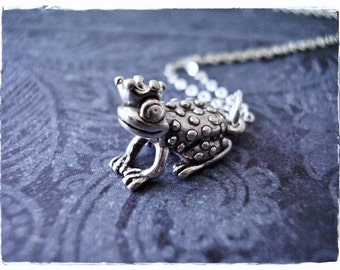 Silver Frog Prince Necklace - Sterling Silver Frog Prince Charm on a Delicate Sterling Silver Cable Chain or Charm Only