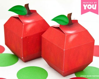 Apple Favor Box : DIY Printable School and Teacher Inspired PDF - Instant Download