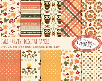 50%OFF Fall digital paper, Autumn digital paper, Fall harvest digital papers for planner stickers,scrapbook, commercial use. P 419