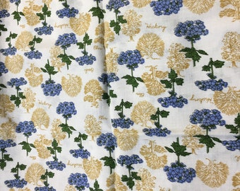Feedsack Fabric Blue Flowers Gold Trees