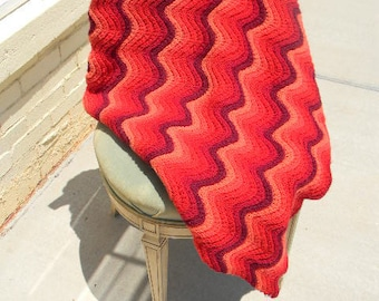 Lovers Flame Stitch Hand Crochet Afghan