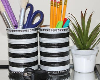 Black & white striped decoupaged tin can pencil holder set;Desk set;Pencil cups;Desk decor;Recycled cans;Bling tin can;Makeup brush holder