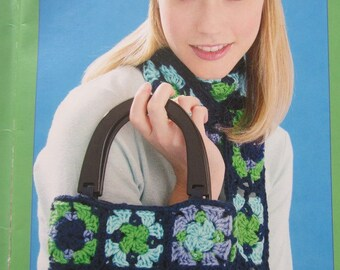 1970's PDF Patterns - Granny Square Hat, Bag, Vest, Scarf Vintage Crochet Patterns GS1