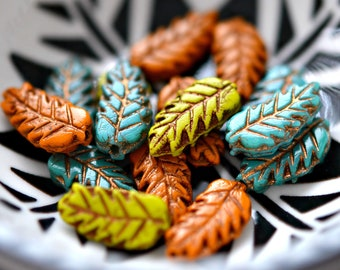 6 Oak Leaves - Czech Glass Beads, Opaque Chartreuse Yellow, Burnt Orange, Baby Blue, Metallic Bronze Patina, Leaves 15x7mm