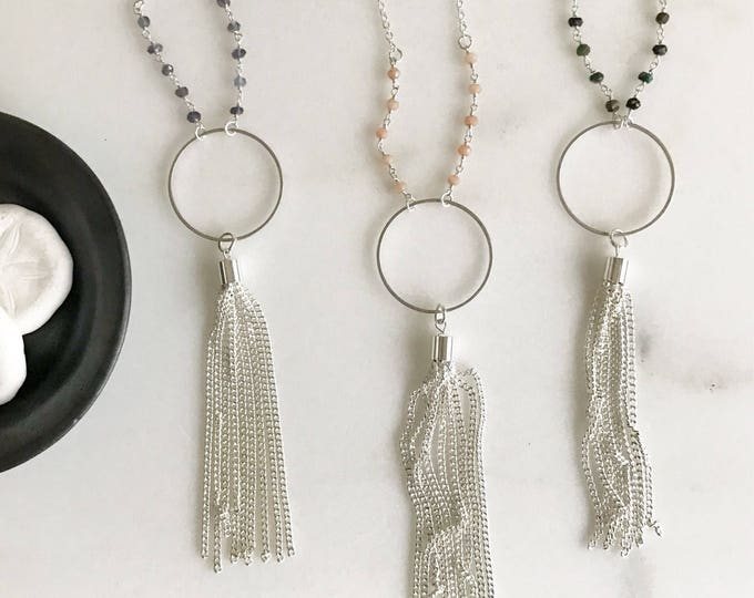 Long Silver Tassel Necklace with Gemstone Beaded Chain. Silver Hoop Tassel Necklace. Boho Jewelry. Gift.