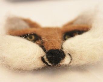 Felted Fox Brooch, Red Fox Pin, Needle Felted Fox Pin, Felt Fox Jewelry#2474