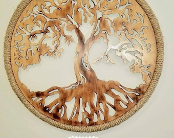 Tree Of Life Wall Art Single Round Panels Handmade 3D   Home Decor