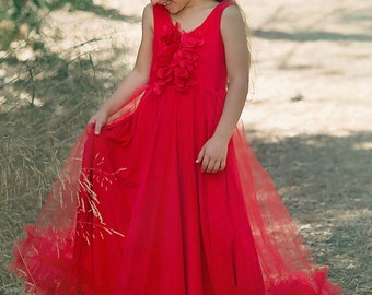 Girls Christmas Dressbaby Girl Long Red Gownholiday