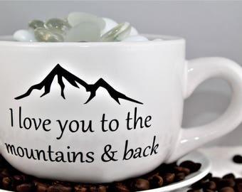 Cute Couple-I Love You To The Mountains & Back-Coffee Mug