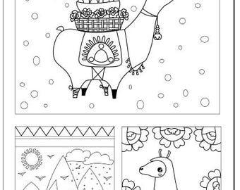 Voodoodles - Llama Collage coloring page