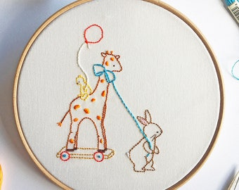 The Giraffe Ride - Hand Embroidery PDF Pattern