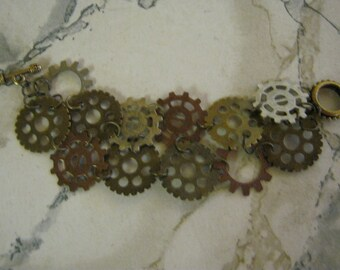 Steampunk Multi Patterened Watch Gears Bracelet