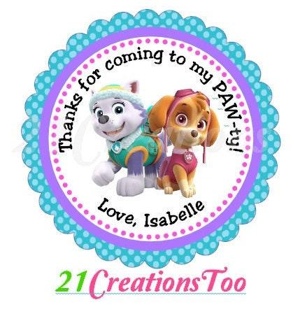 Paw Patrol Everest And Skye Stickers From 21creationstoo
