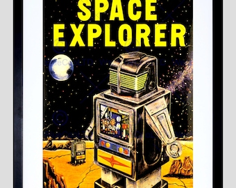 Advert Toy Battery Operated Space Explorer Robot Art Print Poster FECC172