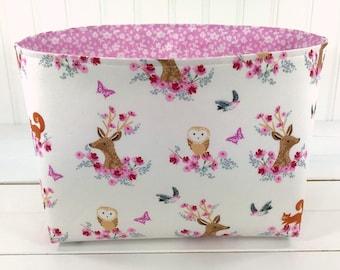 Woodland pépinière rangement panier bébé fille chambre d'enfant Decor panier tissu Bin cerf bébé douche cadeau fleurs en tissu rose animaux