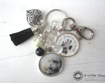 Pet Loss Keychain, Beaded, Custom, Charmed, Personalized, Pet owner, Dog Owner,