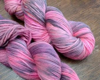 Hand Dyed Yarn Worsted - Plum Crazy - 100% Merino Wool 100 g, 218 yds - Pink, Gray, Mauve, Plum