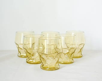 vintage tumblers / yellow honeycomb short glasses / set of 6