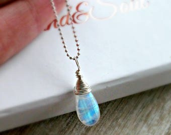 Rainbow Moonstone Necklace Wrapped in Sterling Silver - JUNE BIRTHSTONE - Gift For Her