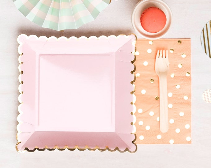 Pink and Gold  Plates, Pink Square Plates, Scallop Edge Plates, Pink Birthday Plates, Pink and Gold Wedding Plates, Pink Baby Shower Plates