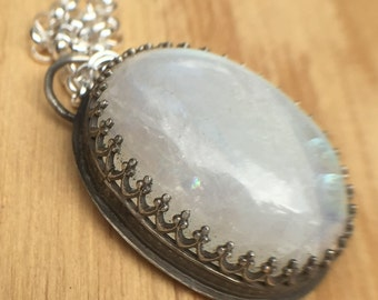 Sterling Silver Avalon Pendant with Oval Rainbow Moonstone Cabochon