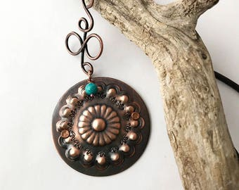 Copper Concho Pendant & Leather with Handmade Chain Toggle Clasp