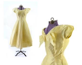 1950s Dress, Yellow Dress, 50s Dress,  Yellow Vintage Dress, Party Dress, Vintage Clothing, Vintage Dress, Extra Small Dress, Silk Dress