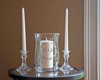 Unity Candle Holder Set - Wreath & Initials - Vinyl Wedding Monogram - Glass Candle Holder - Unity Candle - Unity Ceremony - Unity Set
