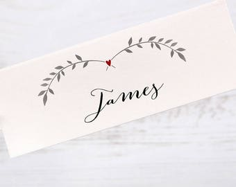 Table Place Cards Folded Rustic Red Heart Ivy
