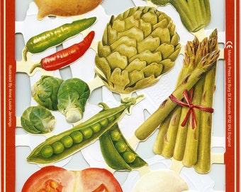 Vegetable SCRAP RELIEFS, Vegetable Die Cuts - Paper Vegetables, Farmers Market Die Cuts, Veggie Die Cuts, Farmers Market, Vegetables