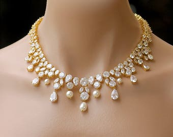 Bridal Jewelry, Crystal Bridal Necklace, Gold Crystal Necklace, Wedding Necklace, Juliette G