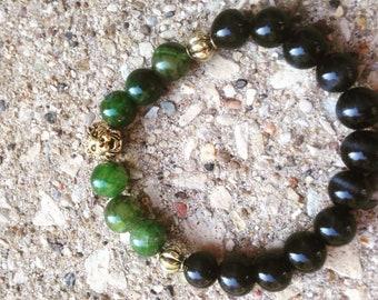 Green King Stone (Green Jasper) 14K Lion Head